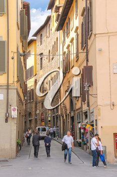 FLORENCE, ITALY - MAY 08, 2014: People on the street of the ancient Italian city Florence. Florence - the administrative center of the region of Tuscany. Population of more than 373,000 people