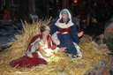 Christmas scene; Jesus Christ, Mary and Josef