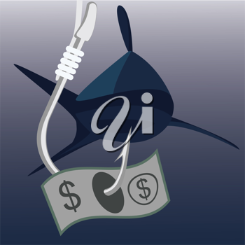 Royalty Free Clipart Image of a Money on Fishing Hook with Shark on Background