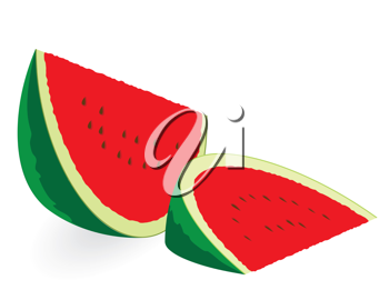Watermelon slices isolated on white
