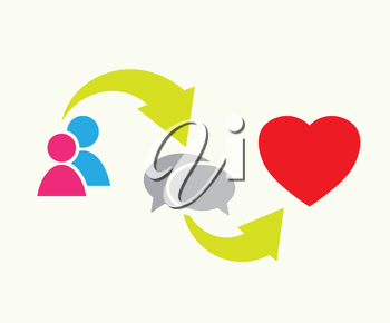 people, speech bubbles and heart symbol as love relationship concept vector illustration