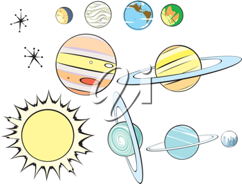 Royalty Free Clipart Image of a Planets and Stars