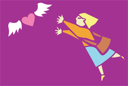 Royalty Free Clipart Image of a Woman Chasing a Winged Heart