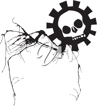 Royalty Free Clipart Image of a Geared Skull With Spindly Legs