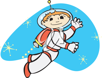 Royalty Free Clipart Image of an Astronaut in Space