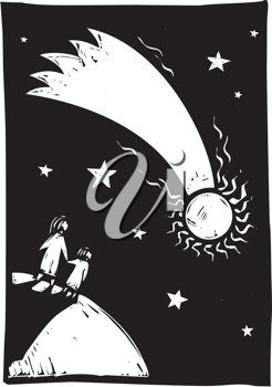 Royalty Free Clipart Image of Two People Watching a Comet