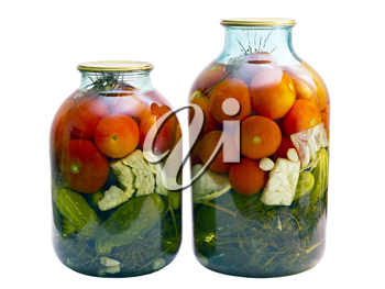 Royalty Free Photo of Jars of Tomatoes and Cucumbers