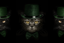 dark muzzle cat  in green hat and tie butterfly