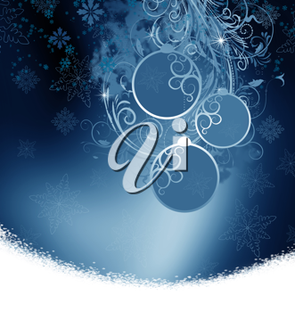Royalty Free Clipart Image of a Snowy Ornamental Background