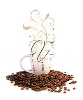 Cup of hot coffee and ornate on a white background
