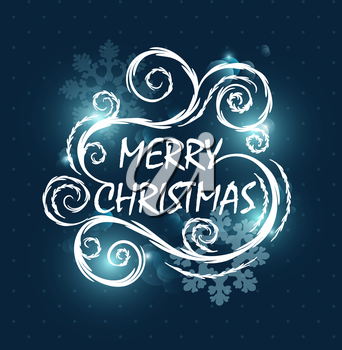 Christmas Design Background With Text And Snowflakes