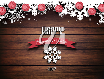 Wooden Christmas Holiday Winter Background With Shadows, Balls, Snowflakes And Text
