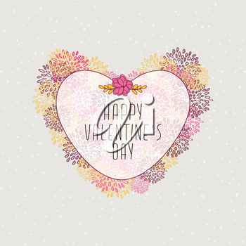 Valentine's Card With Hearts And Snow