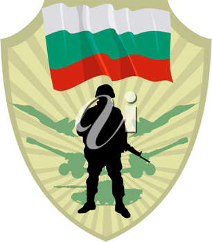 Royalty Free Clipart Image of a Crest of a Bulgarian Flag and a Soldier