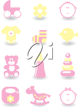 Royalty Free Clipart Image of a Set of Baby Icons