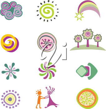 Set of colorful vector design elements