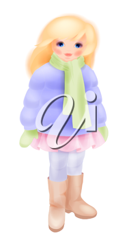 Winter girl. Fashion girl's clothing. Watercolor style.  The blonde girl dressed in winter jacket. Winter clothes.