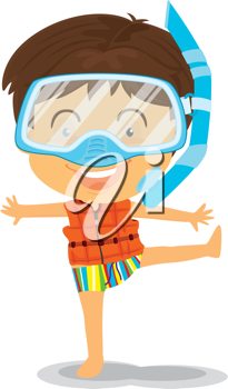 Royalty Free Clipart Image of a Boy in a Snorkel Mask