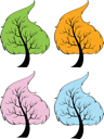 Illustration of trees of the seasons