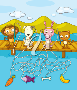 Illustration of animals fishing on pier