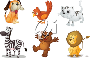 Illustration of a set of cute animals