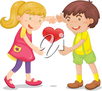 Illustration of  a kids with heart on white