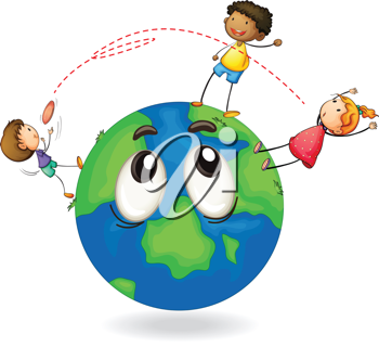 illustration of a kids playing flying disc on earth globe
