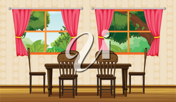 Illustration of a dinning table and chairs in a room