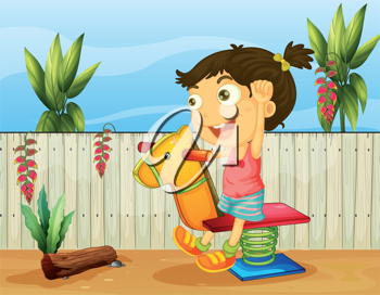 Illustration of a little girl playing insde the fence