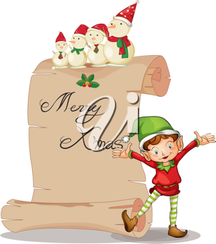 detailed illustration of an elve and a snowman on a white background