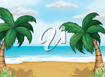 Illustration of coconut trees in the seashore