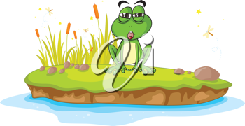 illustration of a frog and water on a white background