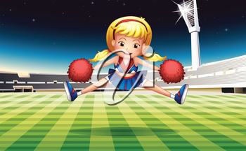 Illustration of a stadium with an energetic cheerdancer
