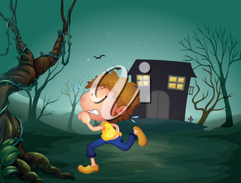 Illustration of a boy running in the middle of the night