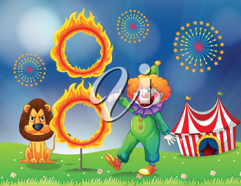 Illustration of a lion and a clown performing