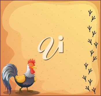 Illustration of a stationery with a rooster