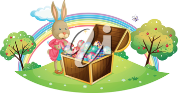 Illustration of a bunny with many colorful eggs on a white background