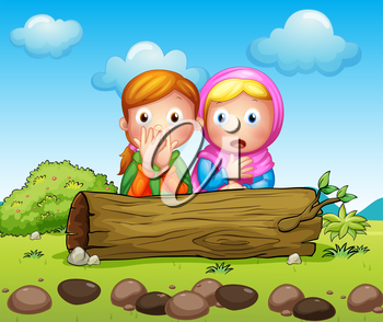 Illustration of the two shocked girls hiding in the trunk