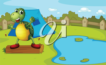 Illustration of a turtle beside the pond inside a fence