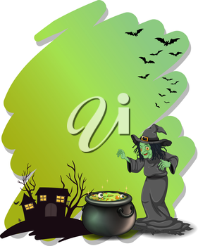 Illustration of a witch and her magical pot at the cemetery on a white background