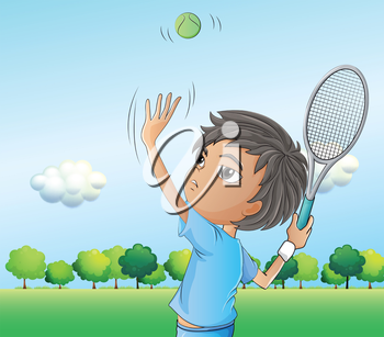 Illustration of a young boy playing tennis