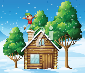 Illustration of a wooden house with a playful elf at the rooftop