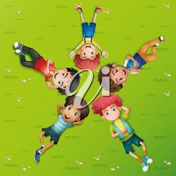 Five boys lying on green grass illustration