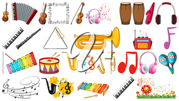 Set of music instruments illustration