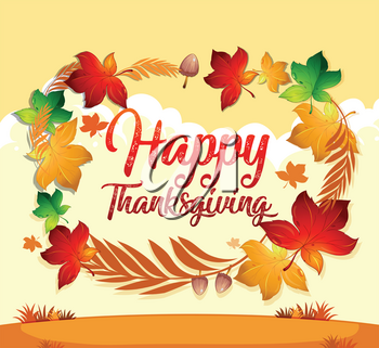 A happy thanksgiving card template illustration