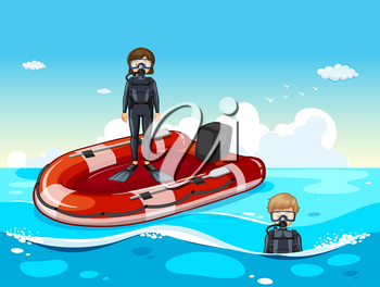 People diving in the ocean illustration