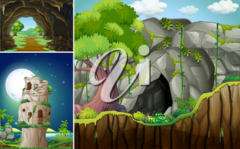 Three scenes with cave and mountain illustration