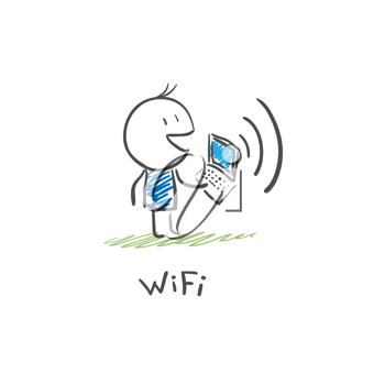 The man with the laptop to connect to the Internet via Wi Fi