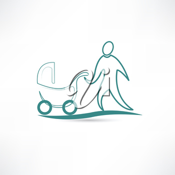 father with stroller icon