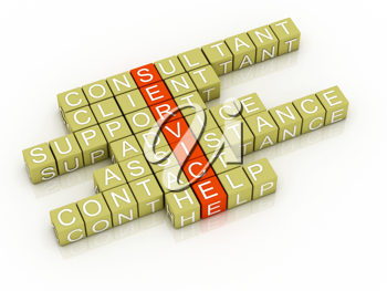 Service crossword 3D on white background